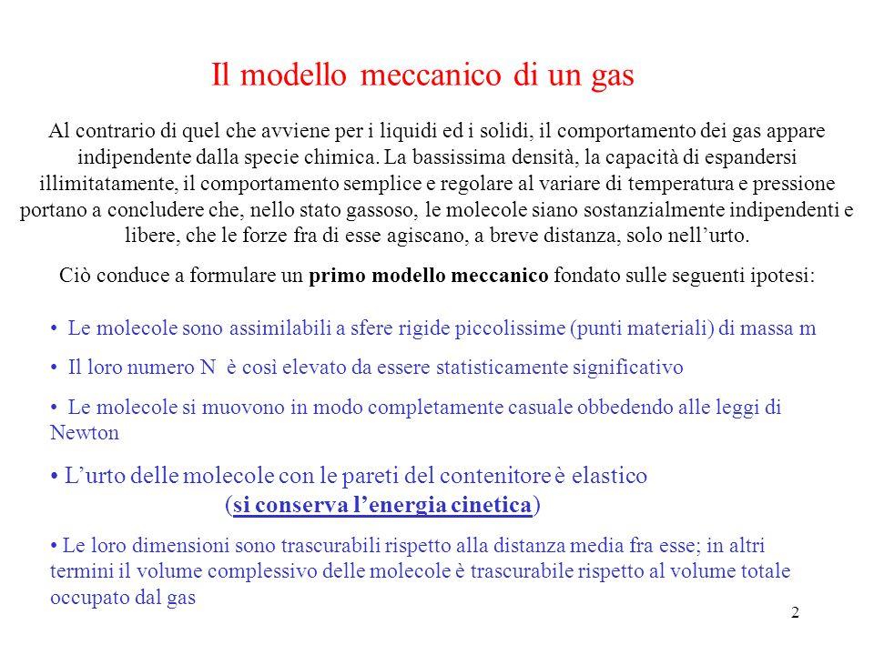 2 Il modello meccanico di un gas Al contrario di quel che avviene per i liquidi ed i solidi, il comportamento dei gas appare indipendente dalla specie chimica.