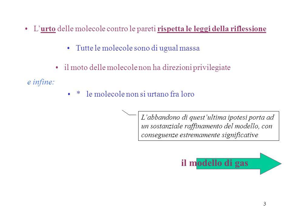 2 Il modello meccanico di un gas Al contrario di quel che avviene per i liquidi ed i solidi, il comportamento dei gas appare indipendente dalla specie
