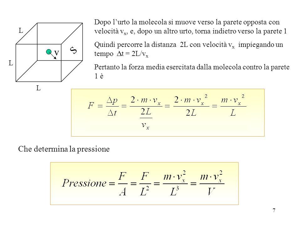 7 Dopo lurto la molecola si muove verso la parete opposta con velocità v x, e, dopo un altro urto, torna indietro verso la parete 1 Quindi percorre la distanza 2L con velocità v x impiegando un tempo t = 2L/v x Pertanto la forza media esercitata dalla molecola contro la parete 1 è Che determina la pressione v L L L S