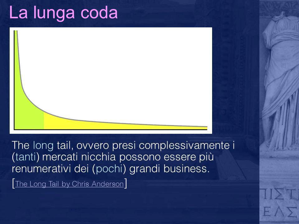 La lunga coda The long tail, ovvero presi complessivamente i (tanti) mercati nicchia possono essere più renumerativi dei (pochi) grandi business. [ Th