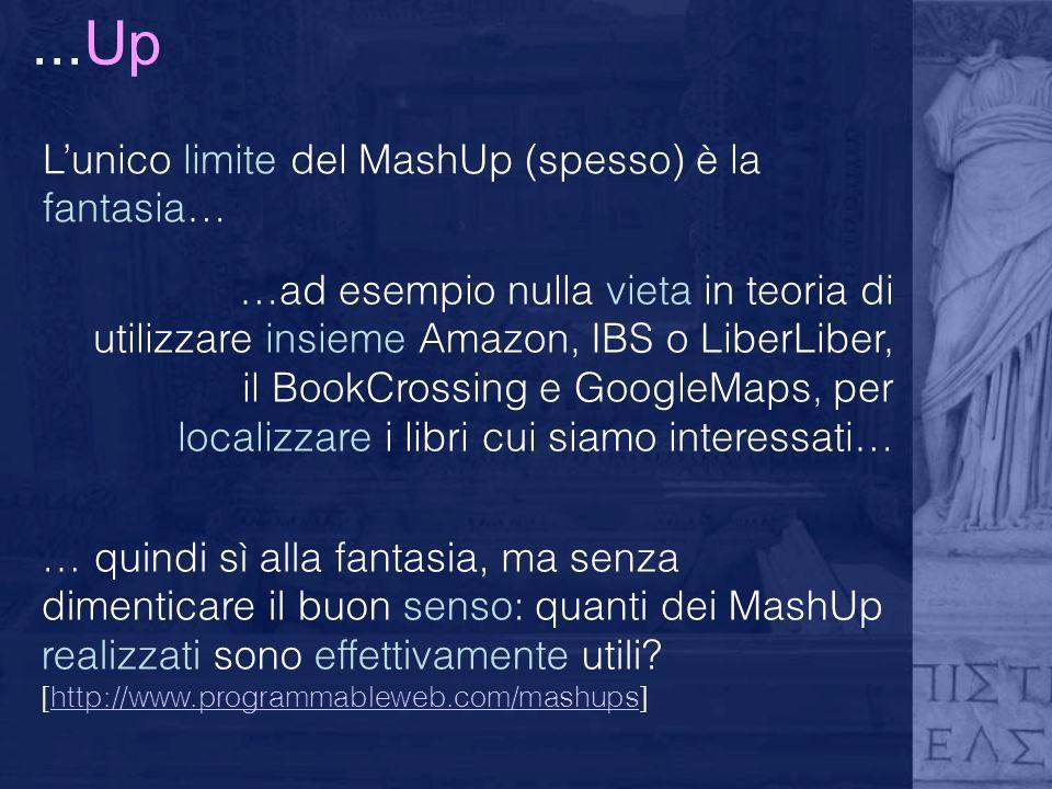 ...Up Lunico limite del MashUp (spesso) è la fantasia… …ad esempio nulla vieta in teoria di utilizzare insieme Amazon, IBS o LiberLiber, il BookCrossi