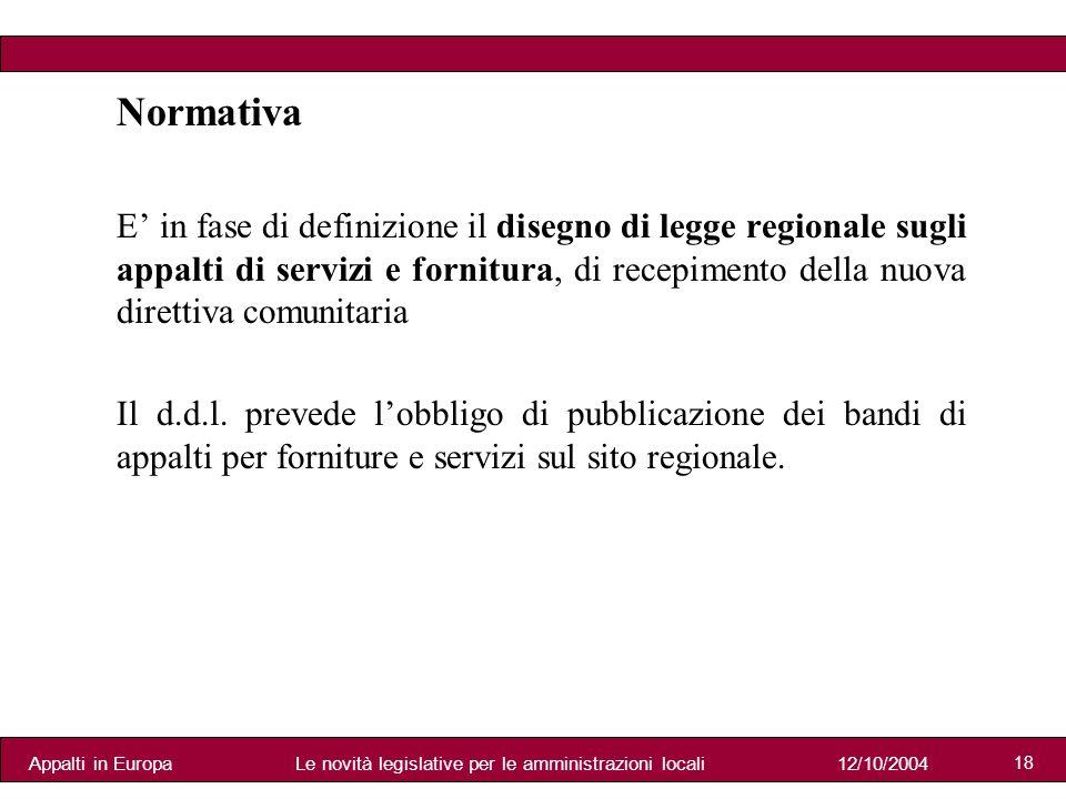 Appalti in Europa12/10/2004Le novità legislative per le amministrazioni locali 18 Normativa E in fase di definizione il disegno di legge regionale sugli appalti di servizi e fornitura, di recepimento della nuova direttiva comunitaria Il d.d.l.