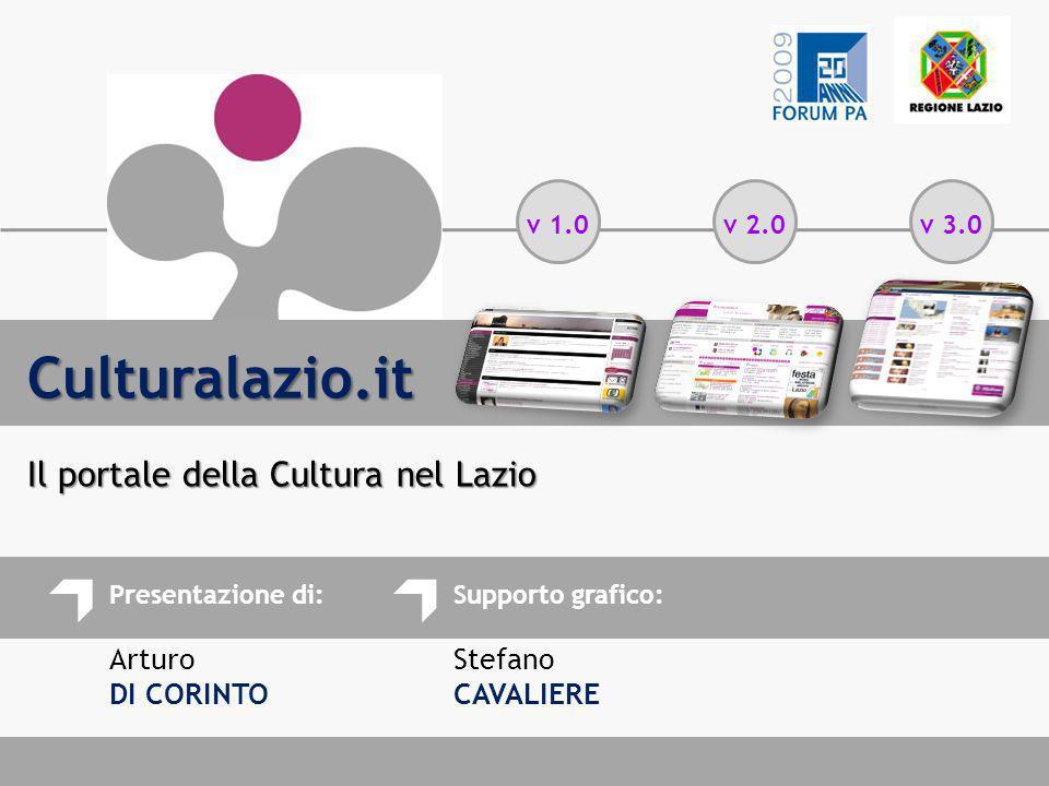 Presentazione di: Arturo DI CORINTO Supporto grafico: Stefano CAVALIERE Culturalazio.it Il portale della Cultura nel Lazio v 1.0v 2.0v 3.0