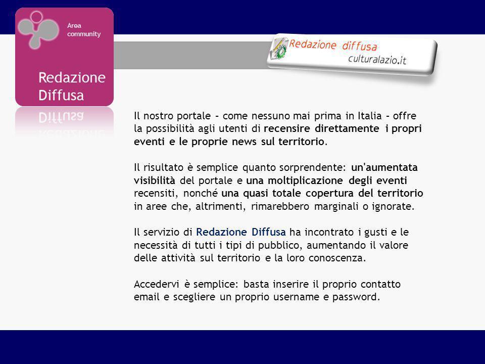 Il nostro portale – come nessuno mai prima in Italia – offre la possibilità agli utenti di recensire direttamente i propri eventi e le proprie news su