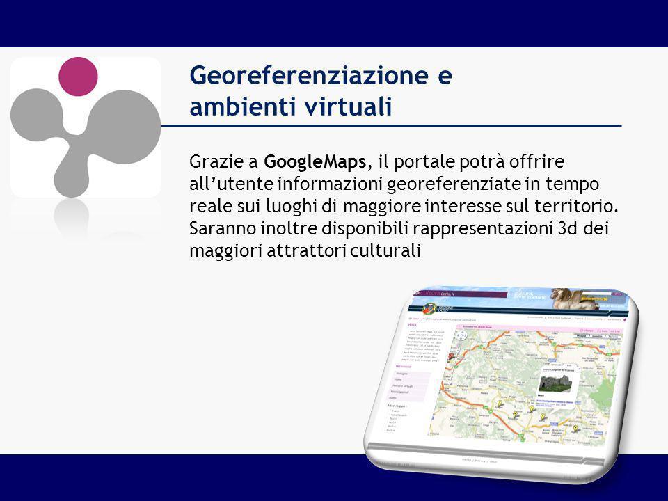 Georeferenziazione e ambienti virtuali Grazie a GoogleMaps, il portale potrà offrire allutente informazioni georeferenziate in tempo reale sui luoghi di maggiore interesse sul territorio.