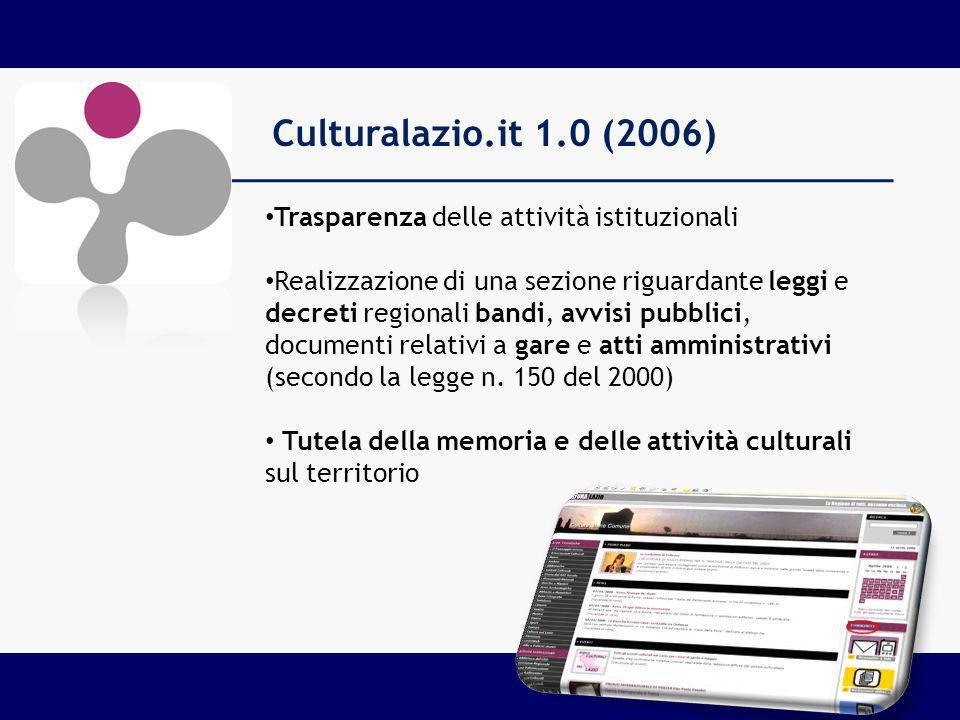 Culturalazio.it 1.0 (2006) Trasparenza delle attività istituzionali Realizzazione di una sezione riguardante leggi e decreti regionali bandi, avvisi pubblici, documenti relativi a gare e atti amministrativi (secondo la legge n.