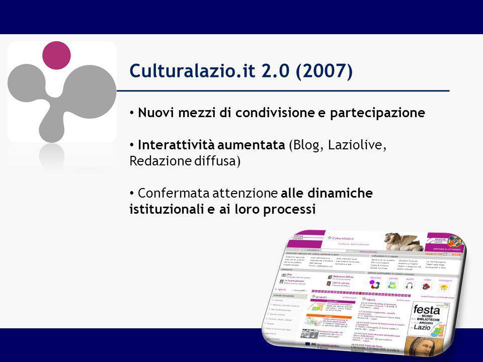 Culturalazio.it 2.0 (2007) Nuovi mezzi di condivisione e partecipazione Interattività aumentata (Blog, Laziolive, Redazione diffusa) Confermata attenzione alle dinamiche istituzionali e ai loro processi