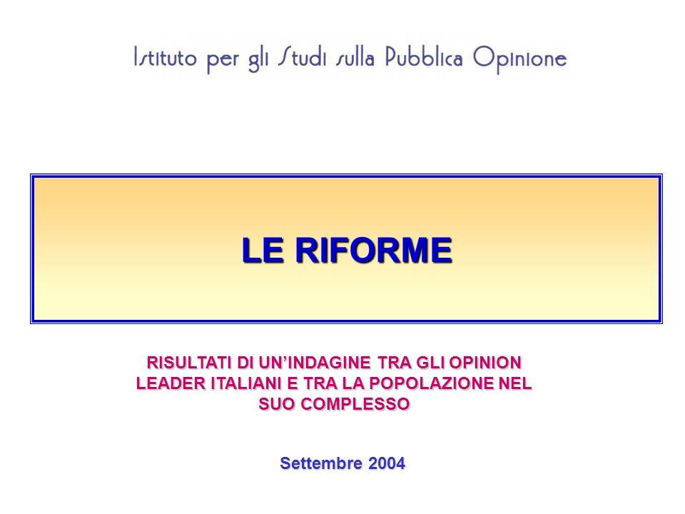 LE RIFORME Settembre 2004 RISULTATI DI UNINDAGINE TRA GLI OPINION LEADER ITALIANI E TRA LA POPOLAZIONE NEL SUO COMPLESSO