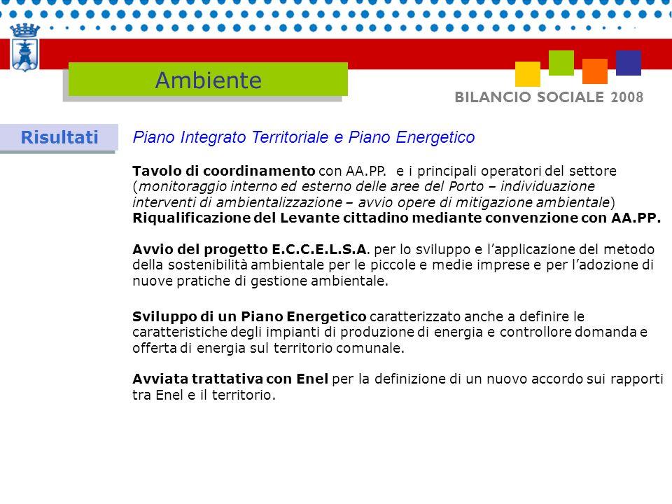 BILANCIO SOCIALE 2008 Ambiente Risultati Piano Integrato Territoriale e Piano Energetico Tavolo di coordinamento con AA.PP. e i principali operatori d
