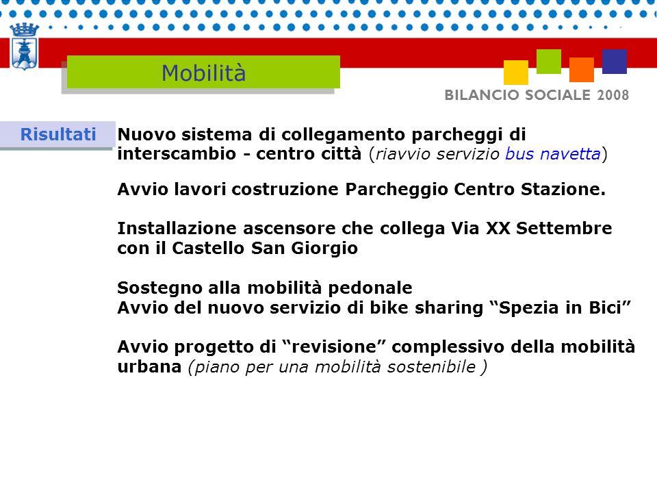 BILANCIO SOCIALE 2008 Mobilità Risultati Nuovo sistema di collegamento parcheggi di interscambio - centro città (riavvio servizio bus navetta) Avvio l
