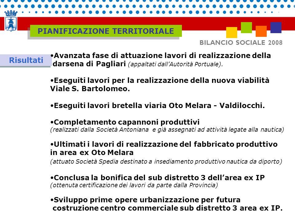 BILANCIO SOCIALE 2008 Risultati Avanzata fase di attuazione lavori di realizzazione della darsena di Pagliari (appaltati dallAutorità Portuale). Esegu