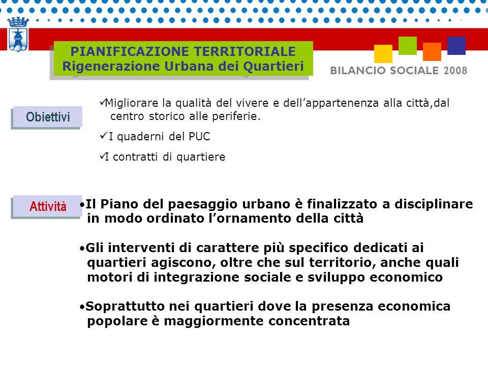 BILANCIO SOCIALE 2008 Obiettivi Attività Migliorare la qualità del vivere e dellappartenenza alla città,dal centro storico alle periferie. I quaderni