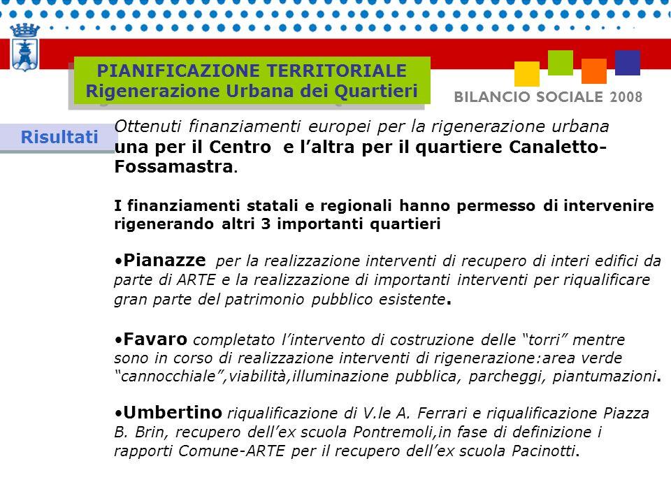 BILANCIO SOCIALE 2008 Risultati Ottenuti finanziamenti europei per la rigenerazione urbana una per il Centro e laltra per il quartiere Canaletto- Foss