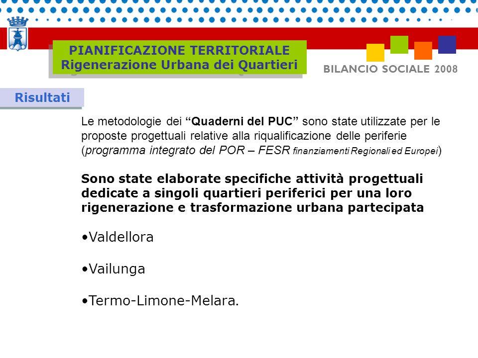 BILANCIO SOCIALE 2008 Risultati Le metodologie dei Quaderni del PUC sono state utilizzate per le proposte progettuali relative alla riqualificazione d
