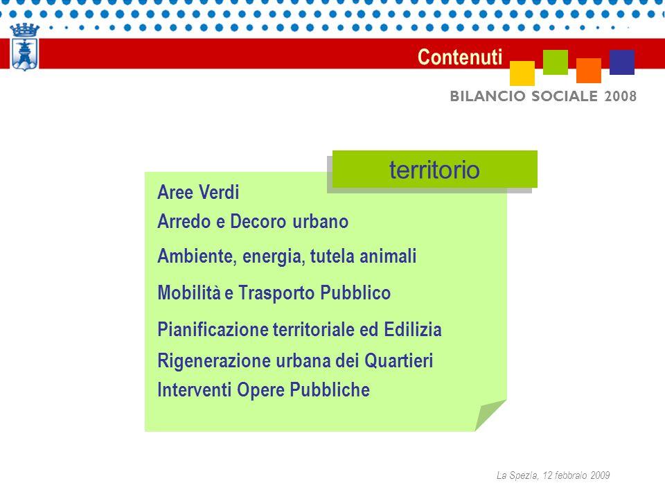 BILANCIO SOCIALE 2008 Aree Verdi Arredo e Decoro urbano Ambiente, energia, tutela animali Mobilità e Trasporto Pubblico Pianificazione territoriale ed