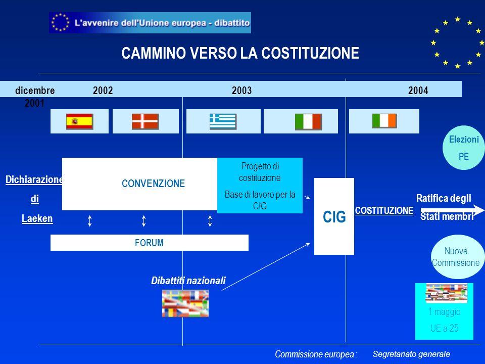 CONVENZIONE CIG 2002 2003 2004 Progetto di costituzione Base di lavoro per la CIG FORUM CAMMINO VERSO LA COSTITUZIONE Elezioni PE Nuova Commissione 1