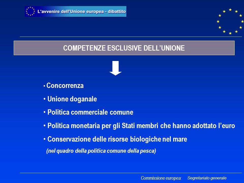 Concorrenza Unione doganale Politica commerciale comune Politica monetaria per gli Stati membri che hanno adottato leuro Conservazione delle risorse b