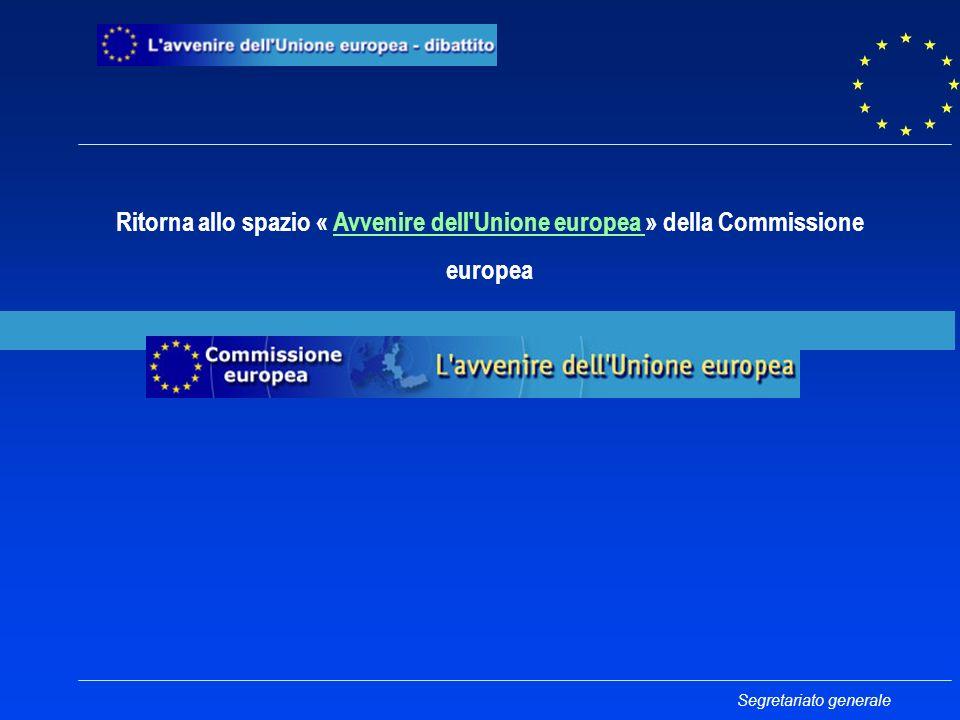 Ritorna allo spazio « Avvenire dell Unione europea » della CommissioneAvvenire dell Unione europea europea Segretariato generale