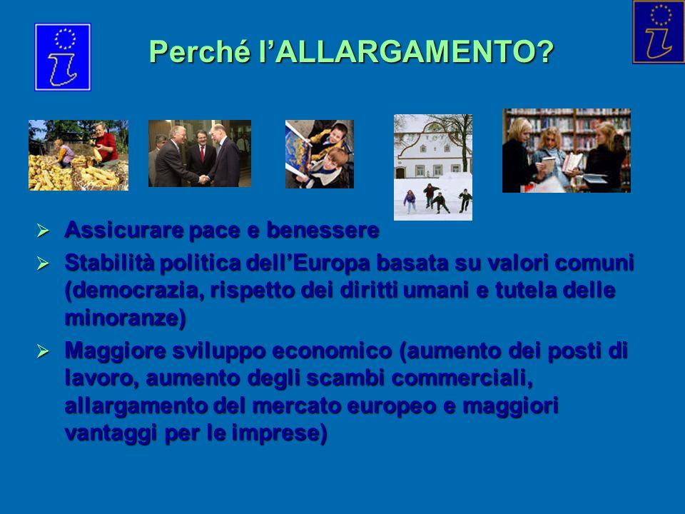 Perché lALLARGAMENTO? Assicurare pace e benessere Assicurare pace e benessere Stabilità politica dellEuropa basata su valori comuni (democrazia, rispe