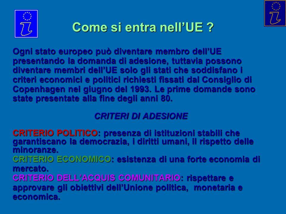 Come si entra nellUE ? Ogni stato europeo può diventare membro dellUE presentando la domanda di adesione, tuttavia possono diventare membri dellUE sol