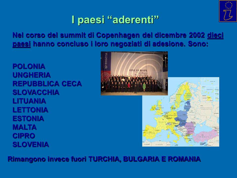 I paesi aderenti Nel corso del summit di Copenhagen del dicembre 2002 dieci paesi hanno concluso i loro negoziati di adesione.