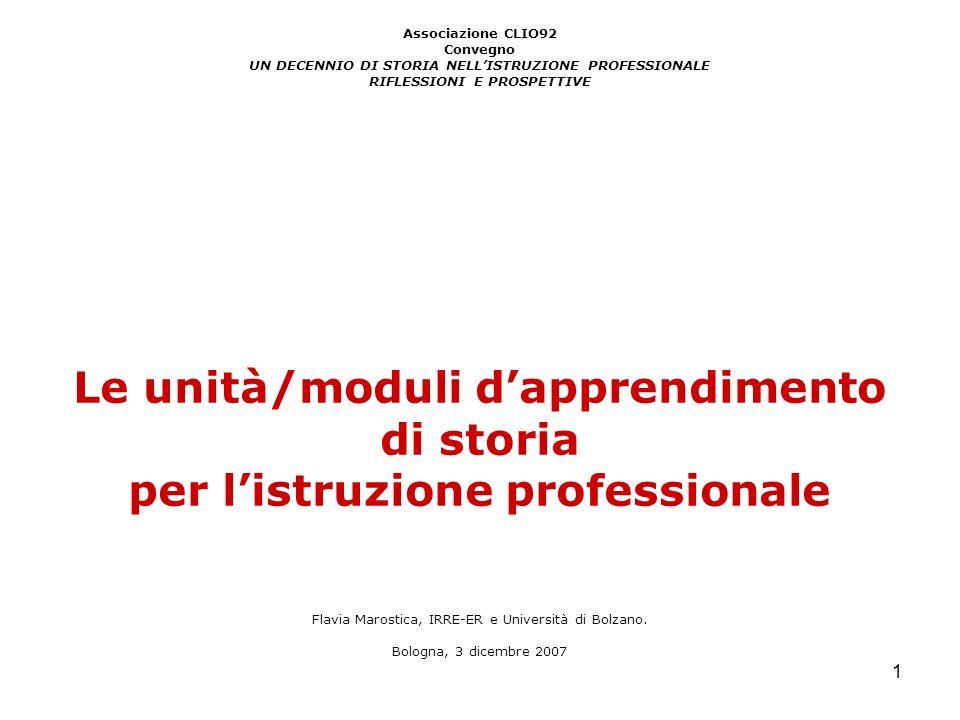 1 Associazione CLIO92 Convegno UN DECENNIO DI STORIA NELLISTRUZIONE PROFESSIONALE RIFLESSIONI E PROSPETTIVE Le unità/moduli dapprendimento di storia p