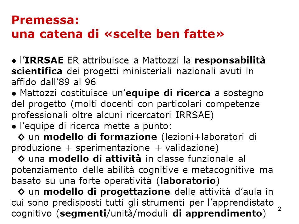 2 Premessa: una catena di «scelte ben fatte» lIRRSAE ER attribuisce a Mattozzi la responsabilità scientifica dei progetti ministeriali nazionali avuti
