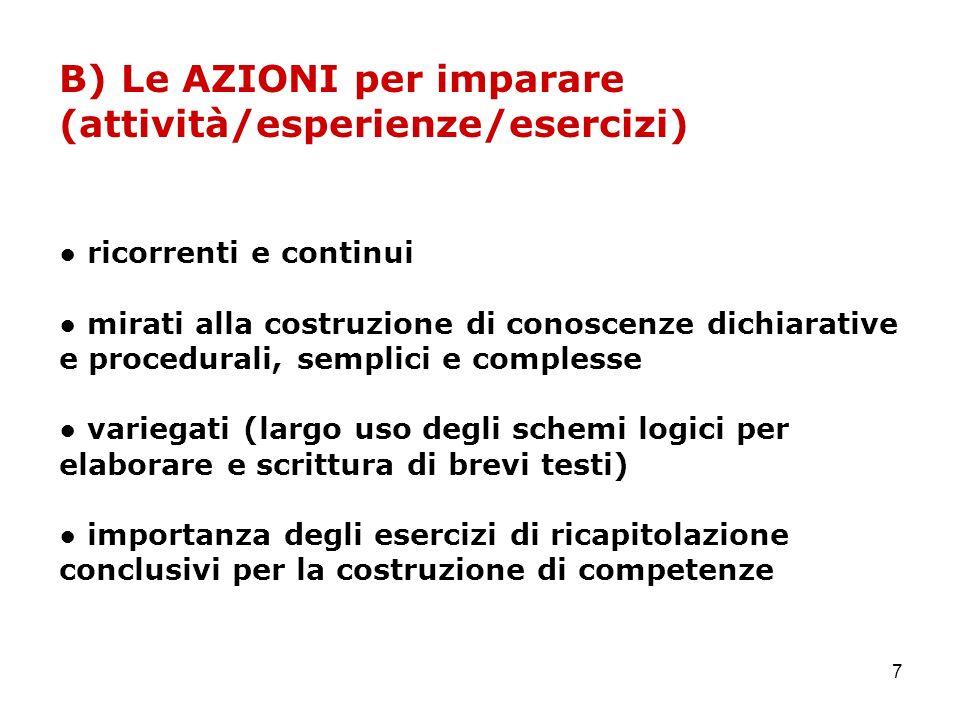 7 B) Le AZIONI per imparare (attività/esperienze/esercizi) ricorrenti e continui mirati alla costruzione di conoscenze dichiarative e procedurali, sem