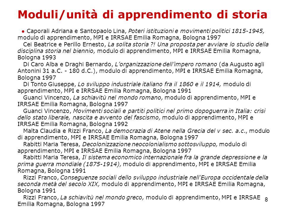 8 Moduli/unità di apprendimento di storia Caporali Adriana e Santopaolo Lina, Poteri istituzioni e movimenti politici 1815-1945, modulo di apprendimen