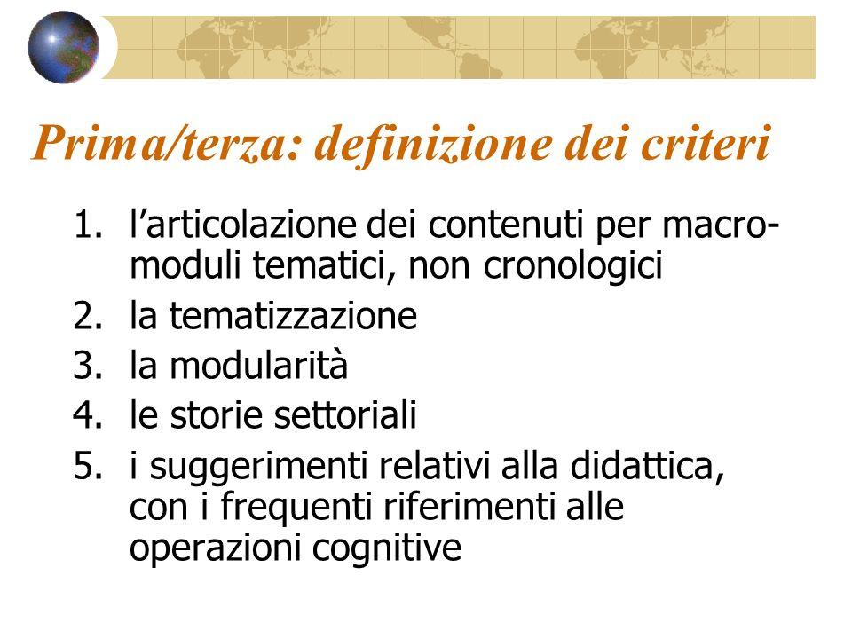 Prima/terza: definizione dei criteri 1.larticolazione dei contenuti per macro- moduli tematici, non cronologici 2.la tematizzazione 3.la modularità 4.