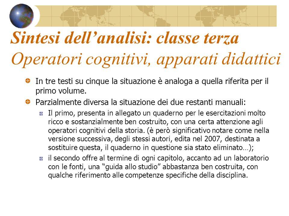 Sintesi dellanalisi: classe terza Operatori cognitivi, apparati didattici In tre testi su cinque la situazione è analoga a quella riferita per il prim