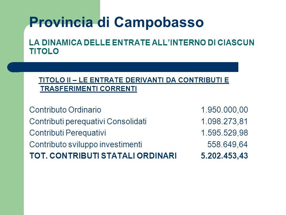 Provincia di Campobasso LA DINAMICA DELLE ENTRATE ALLINTERNO DI CIASCUN TITOLO TITOLO II – LE ENTRATE DERIVANTI DA CONTRIBUTI E TRASFERIMENTI CORRENTI Contributo Ordinario 1.950.000,00 Contributi perequativi Consolidati1.098.273,81 Contributi Perequativi 1.595.529,98 Contributo sviluppo investimenti 558.649,64 TOT.