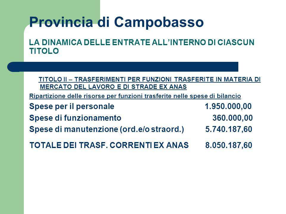 Provincia di Campobasso LA DINAMICA DELLE ENTRATE ALLINTERNO DI CIASCUN TITOLO TITOLO II – TRASFERIMENTI PER FUNZIONI TRASFERITE IN MATERIA DI MERCATO DEL LAVORO E DI STRADE EX ANAS Ripartizione delle risorse per funzioni trasferite nelle spese di bilancio Spese per il personale 1.950.000,00 Spese di funzionamento 360.000,00 Spese di manutenzione (ord.e/o straord.) 5.740.187,60 TOTALE DEI TRASF.