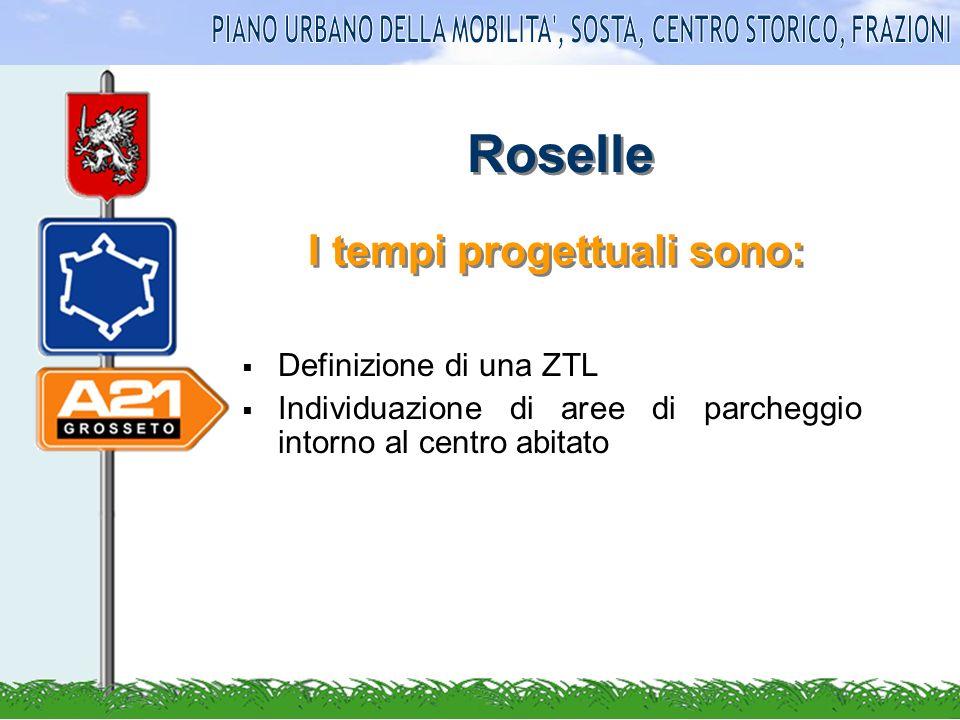 Roselle Definizione di una ZTL Individuazione di aree di parcheggio intorno al centro abitato I tempi progettuali sono: