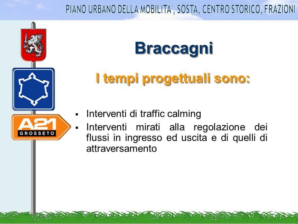 Braccagni Interventi di traffic calming Interventi mirati alla regolazione dei flussi in ingresso ed uscita e di quelli di attraversamento I tempi progettuali sono: