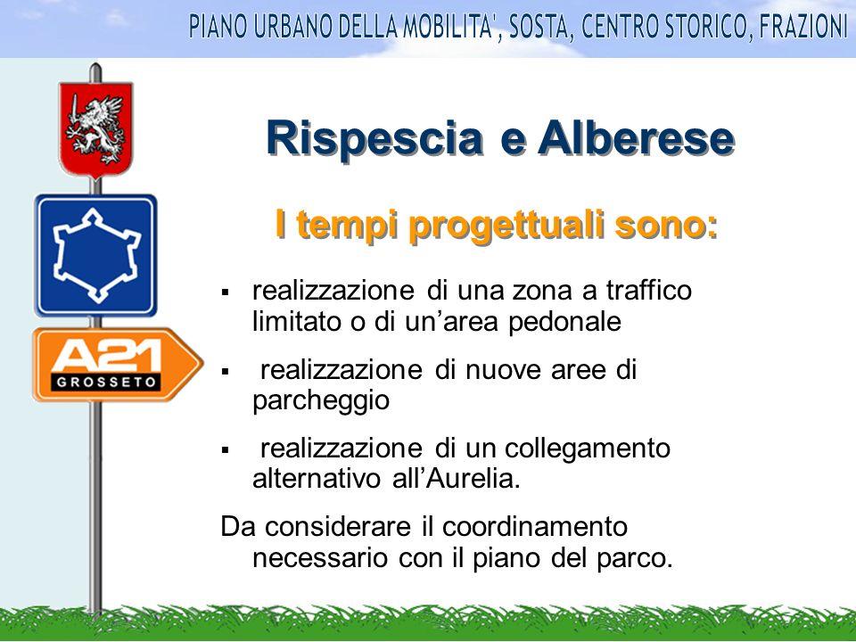 Rispescia e Alberese realizzazione di una zona a traffico limitato o di unarea pedonale realizzazione di nuove aree di parcheggio realizzazione di un collegamento alternativo allAurelia.