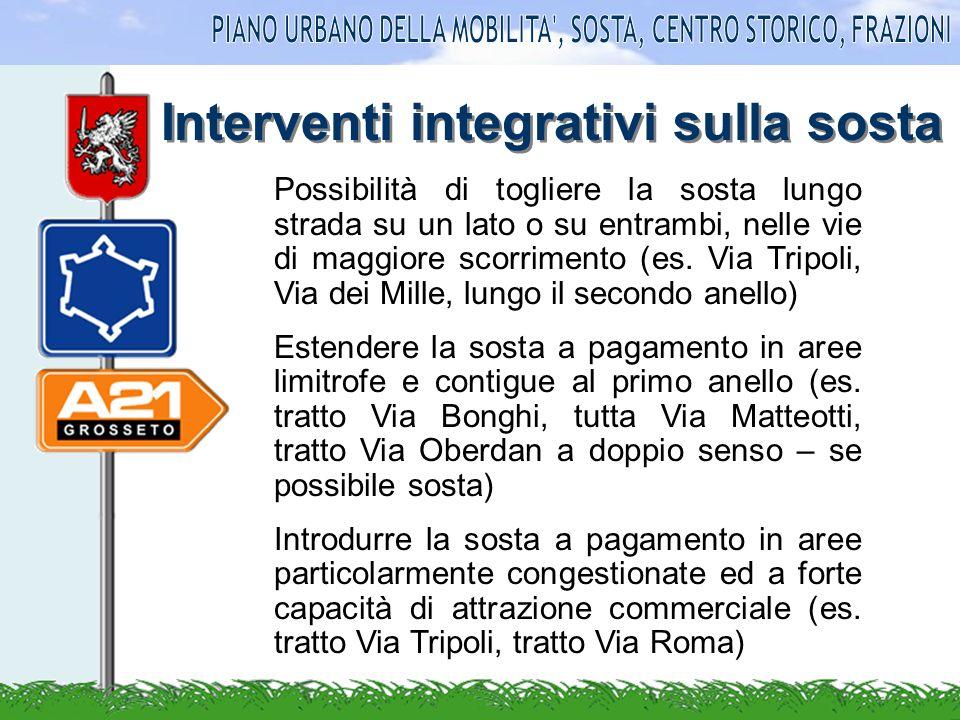Interventi integrativi sulla sosta Possibilità di togliere la sosta lungo strada su un lato o su entrambi, nelle vie di maggiore scorrimento (es.