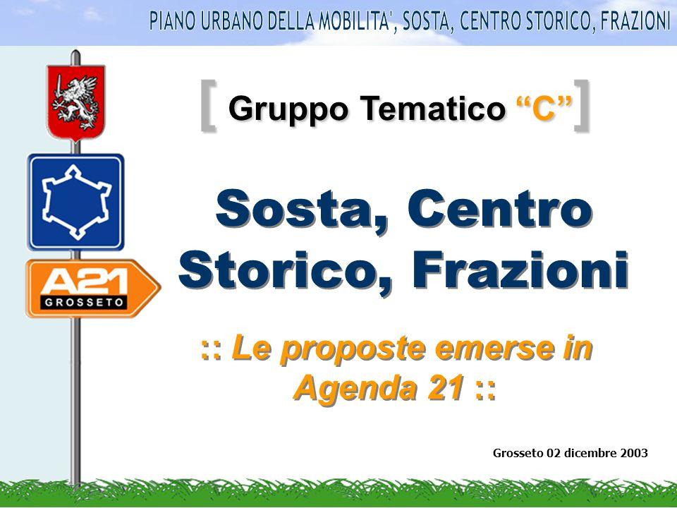 [ Gruppo Tematico C ] :: Le proposte emerse in Agenda 21 :: Grosseto 02 dicembre 2003 Sosta, Centro Storico, Frazioni