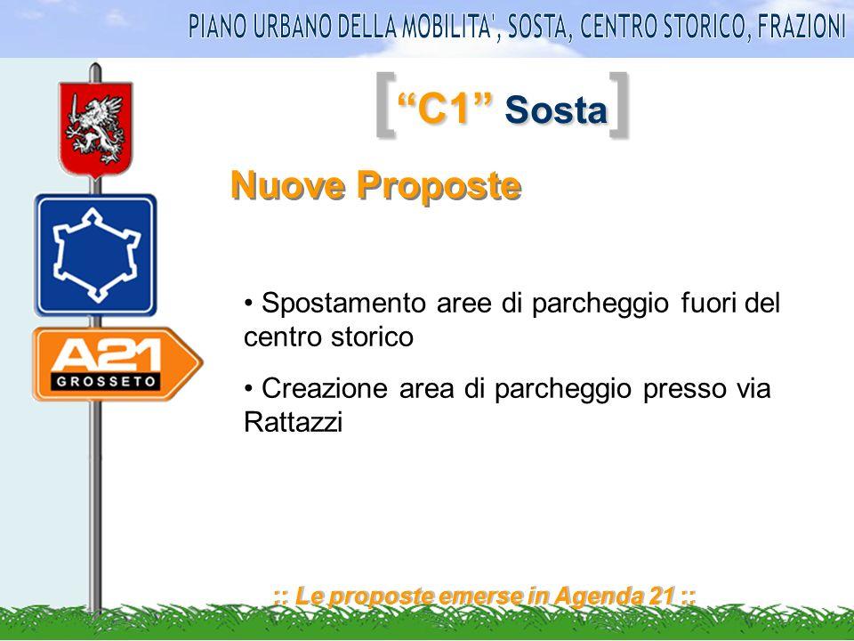 [ C1 Sosta ] :: Le proposte emerse in Agenda 21 :: Nuove Proposte Spostamento aree di parcheggio fuori del centro storico Creazione area di parcheggio presso via Rattazzi
