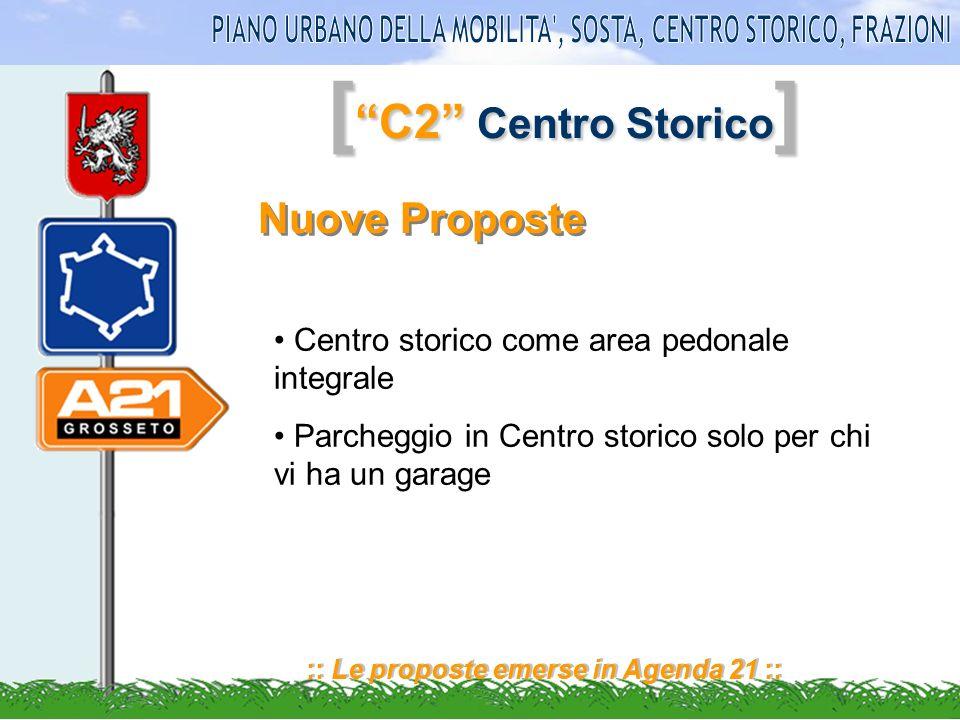 [ C2 Centro Storico ] :: Le proposte emerse in Agenda 21 :: Nuove Proposte Centro storico come area pedonale integrale Parcheggio in Centro storico solo per chi vi ha un garage
