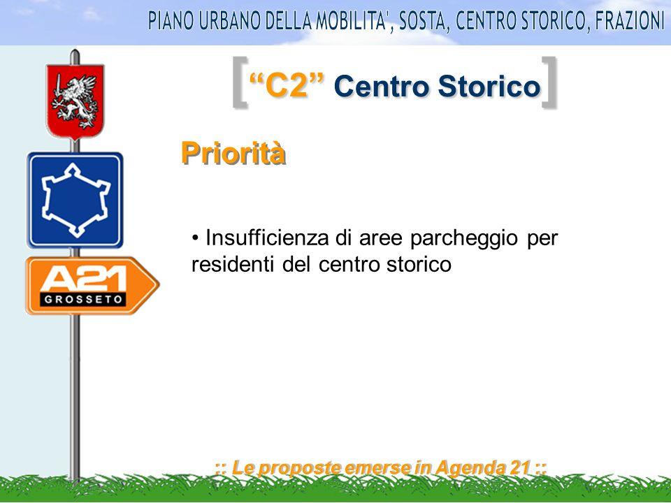 [ C2 Centro Storico ] :: Le proposte emerse in Agenda 21 :: Priorità Insufficienza di aree parcheggio per residenti del centro storico