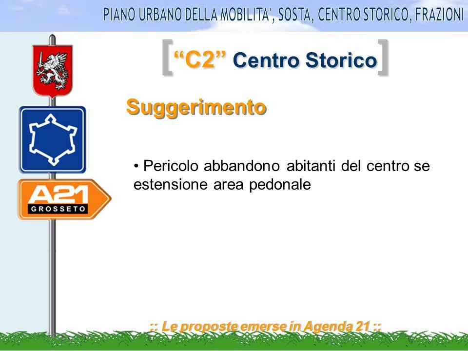 [ C2 Centro Storico ] :: Le proposte emerse in Agenda 21 :: Suggerimento Pericolo abbandono abitanti del centro se estensione area pedonale