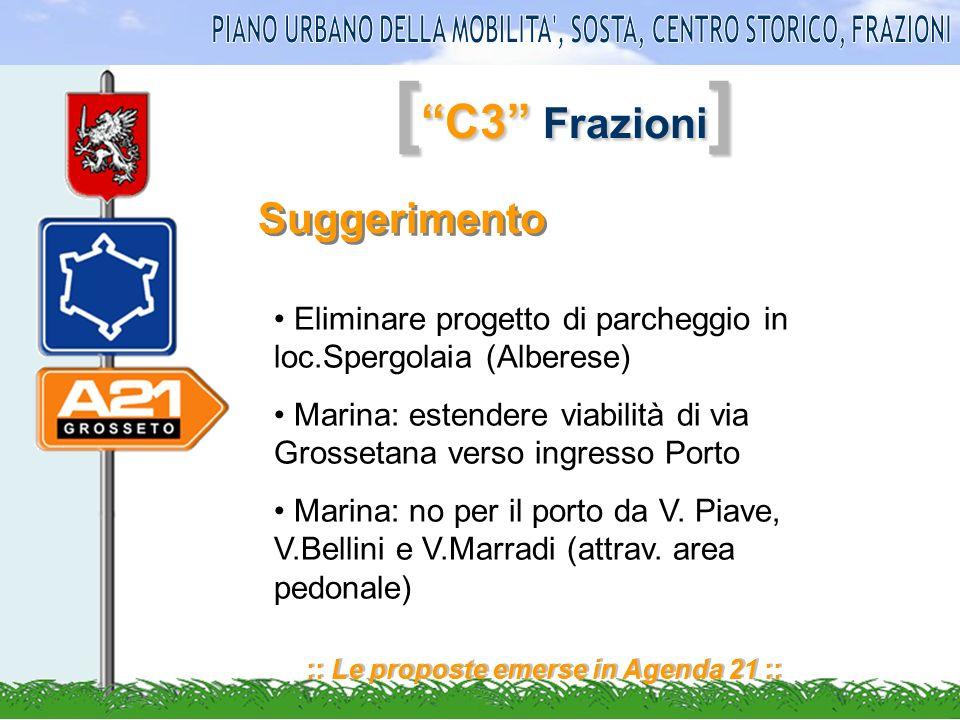 [ C3 Frazioni ] :: Le proposte emerse in Agenda 21 :: Suggerimento Eliminare progetto di parcheggio in loc.Spergolaia (Alberese) Marina: estendere viabilità di via Grossetana verso ingresso Porto Marina: no per il porto da V.