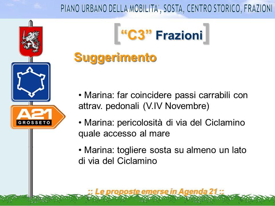 [ C3 Frazioni ] :: Le proposte emerse in Agenda 21 :: Suggerimento Marina: far coincidere passi carrabili con attrav.