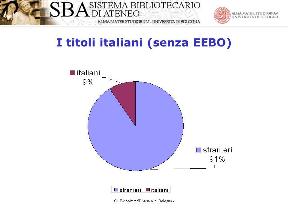 Gli E-books nellAteneo di Bologna - I titoli italiani (senza EEBO)