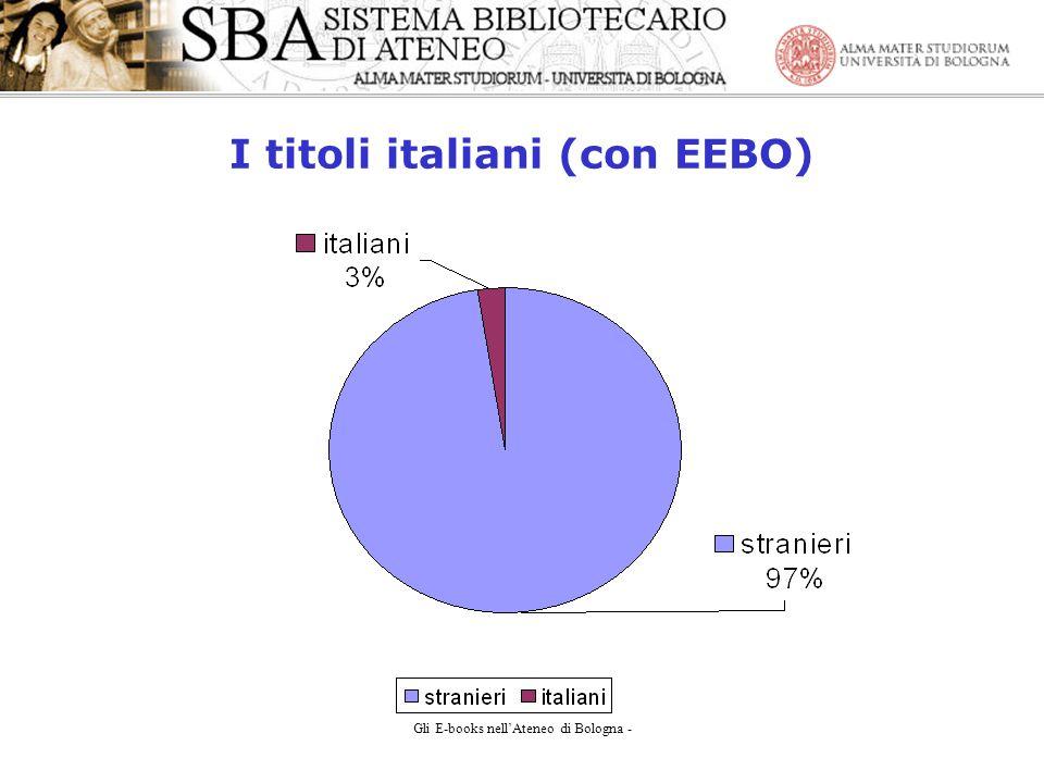 Gli E-books nellAteneo di Bologna - I titoli italiani (con EEBO)