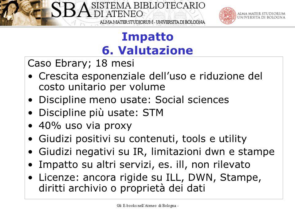 Gli E-books nellAteneo di Bologna - Impatto 6.