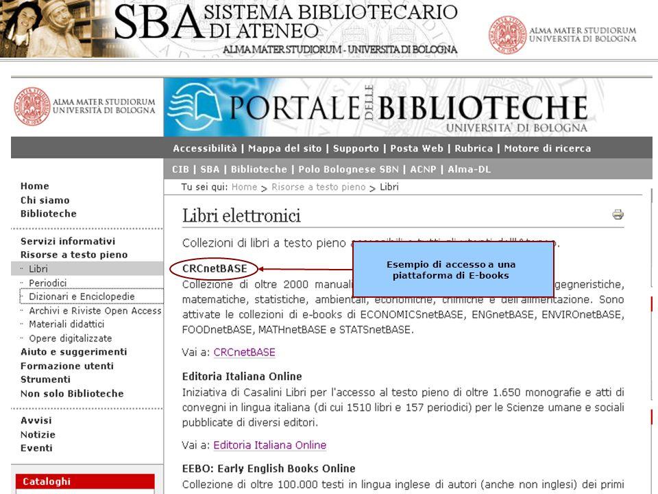 Gli E-books nellAteneo di Bologna - Esempio di accesso a una piattaforma di E-books