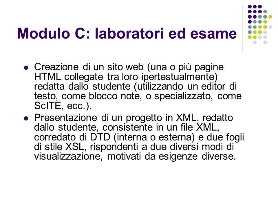 Modulo C: laboratori ed esame Creazione di un sito web (una o più pagine HTML collegate tra loro ipertestualmente) redatta dallo studente (utilizzando un editor di testo, come blocco note, o specializzato, come ScITE, ecc.).