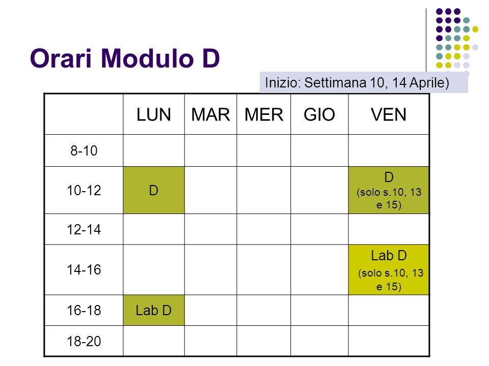 Orari Modulo D LUNMARMERGIOVEN 8-10 10-12D D (solo s.10, 13 e 15) 12-14 14-16 Lab D (solo s.10, 13 e 15) 16-18Lab D 18-20 Inizio: Settimana 10, 14 Aprile)
